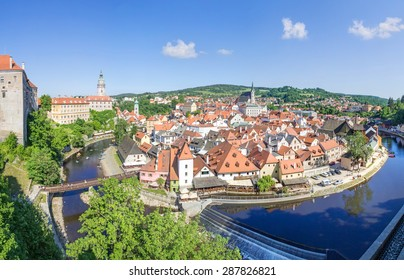 Panoramic view over the old Town of Cesky Krumlov, Czech Republic