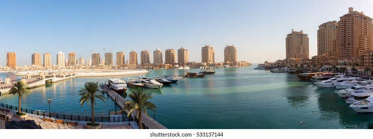 Panoramic view over the Pearl in Doha, Qatar