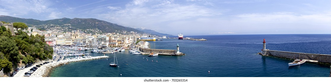 Panoramic view over the port of bastia / corsica with lighthouse