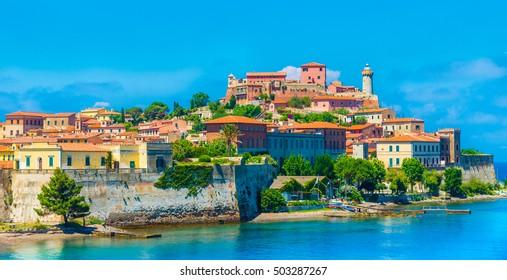 Panoramic view over Portoferraio town of  isola d'Elba, Elba island in Tuscany region, Italy.