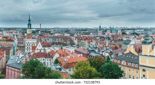 A panoramic view over Poznan's Market Square and nearby rooftops.