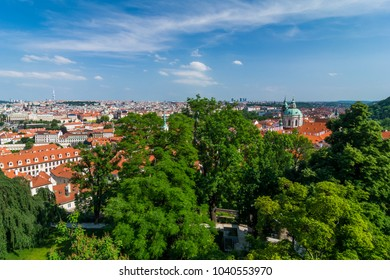 Panoramic view over Prague from above
