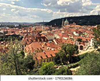 Panoramic view over Prague, Czechia, or Czech Republic, from the Prague Castle.