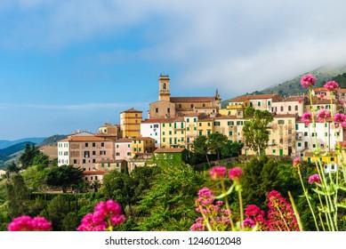 Panoramic view over Rio nell`Elba in Elba Island, Tuscany, Italy.