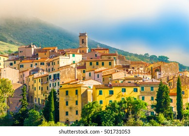 Panoramic view over Rio nell`Elba in Elba Island, Tuscany, Italy.