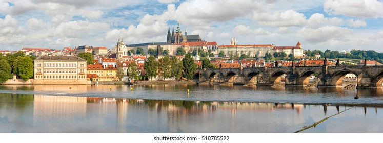 Panoramic view over river Vltava and Charles bridge to Prague castle. Copy space in clear sky