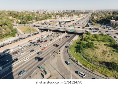 Panoramic view over San Diego Freeway Los Angeles California