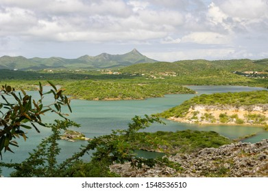 A panoramic view over the Santa Martha Bay near Soto on the Caribbean island Curacao. Mount Christoffel, the highest point on the island is in the background.