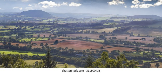 Panoramic View over Shropshire Hills, Area of Outstanding Beauty