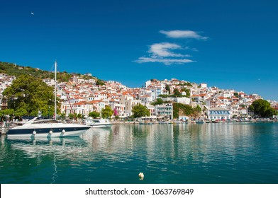 Panoramic view over Skopelos town in Greece on a sunny day