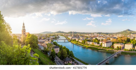 Panoramic view over Stadt Salzburg with Salzach river at evening, Salzburg, Austria
