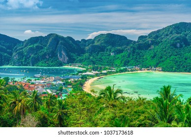 Panoramic view over Tonsai Village, Phi Phi Island, Thailand