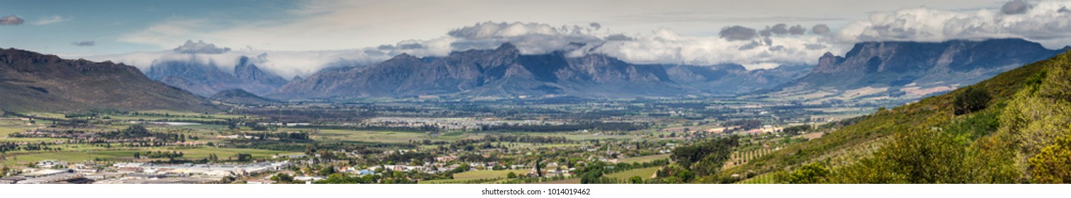 Panoramic view over the town of Paarl in the Western Cape of south africa