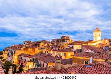 Panoramic view over the traditional architecture, in Province of Livorno in Tuscany - Capoliveri, Elba - Italy