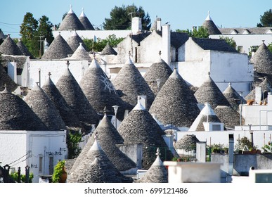 panoramic view over trulli roofs alberobello