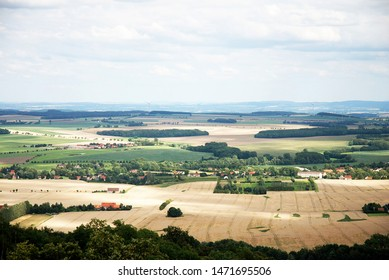 Panoramic view over upper bohemia, Lausitz region in Germany with farmland and countryside