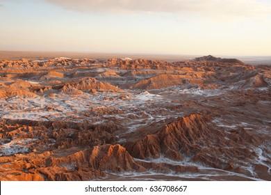 Panoramic view over Valle de la Luna at sunset near San Pedro de Atacama in Chile.