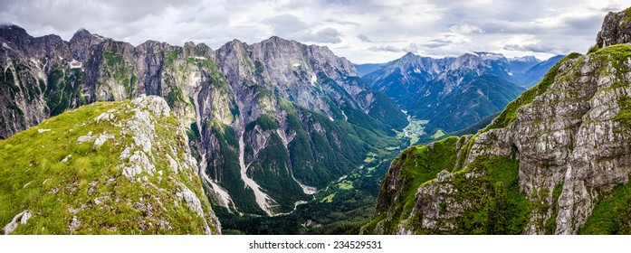 Panoramic view over valley in Julian Alps
