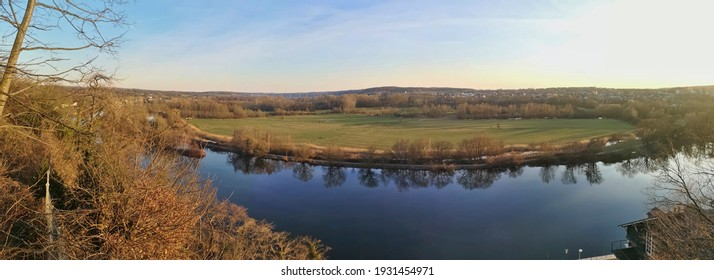 panoramic view over the valley of the Ruhr in Mülheim in the evening sun, springtime