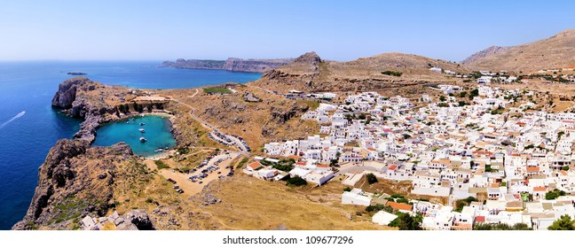 Panoramic view over the village of Lindos and the blue Aegean Sea, Rhodes Island, Greece