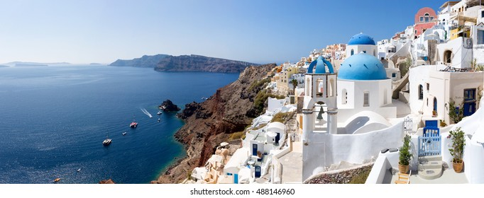 Panoramic view over the village of Oia, Santorini and the caldera