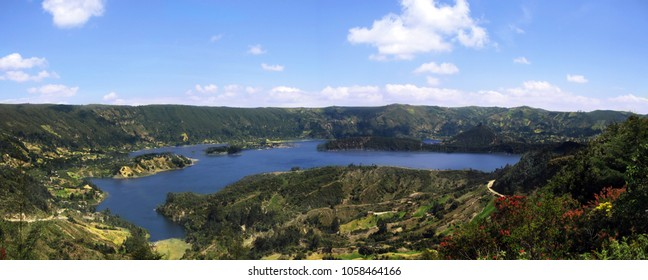 Panoramic view over Wenchi crater lake in Ethiopia.