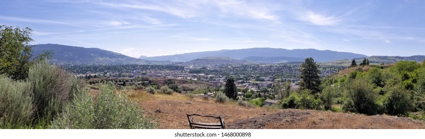 Panoramic view overlooking the city of Vernon, BC, Canada
