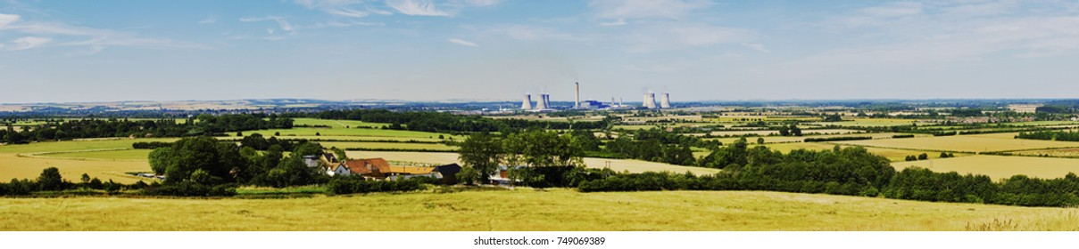 Panoramic view overlooking Didcot Power Station in Oxfordshire UK