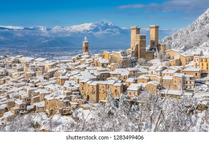 Panoramic view of Pacentro covered in snow during winter season. Abruzzo, Italy.
