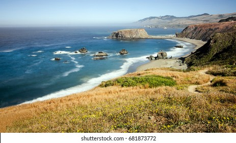 Panoramic view of the Pacific Coast from Goat Rock state park, Sonoma Coast, California, USA, from a high view point, on a sunny Summer day.