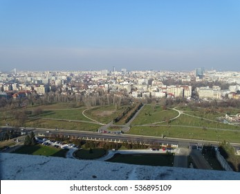 Panoramic view from the Palace of the Parliament in Bucharest