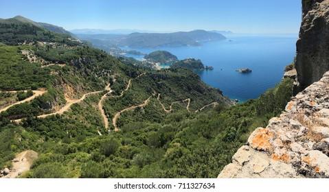 Panoramic view of Palaiokastritsa from Angelokastro. Corfu island, Ionian Sea, Greece.