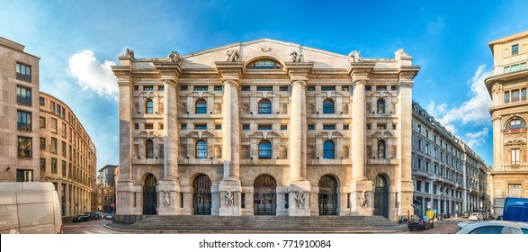 Panoramic view of Palazzo Mezzanotte (in english: Midnight Palace), seat of the Italian stock exchange in Milan, Italy