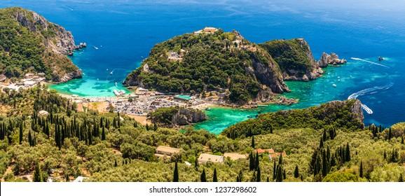Panoramic view of Paleokastritsa bay, Corfu island, Greece