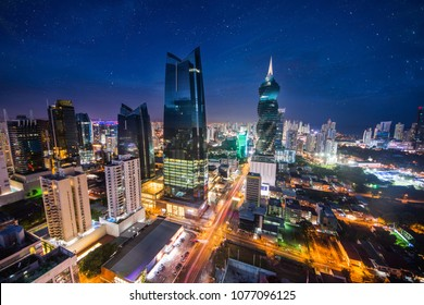 Panoramic view of Panama City at night, commercial area with main banks and government offices.