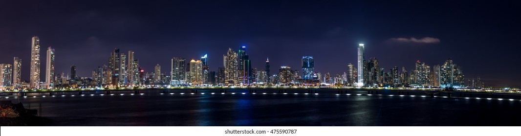 Panoramic view of Panama City Skyline at night - Panama City, Panama