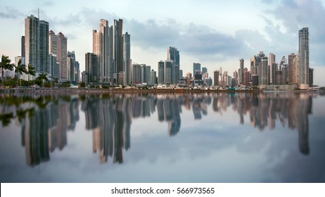 Panoramic view of Panama City skyline with cloudy sky