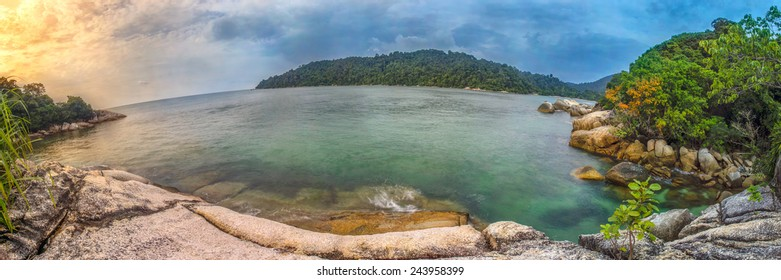 Panoramic view Pangkor island, Malaysia. Image has grain or subject is blurry or noise or out of focus and soft focus when view at full resolution. (Shallow DOF, slight motion blur)