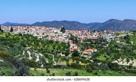 Panoramic view of Pano Lefkara village in Larnaca district, Cyprus.