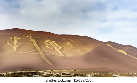 Panoramic view of the Paracas Candelabra, also called the Candelabra of the Andes,Paracas Peninsula, Peru, wide format