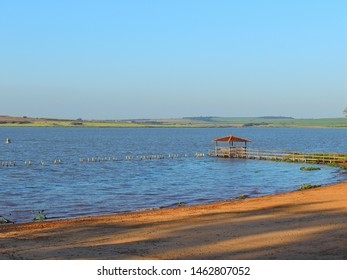 Panoramic view of the paranapanema river in the municipality Santo Inácio, Paraná, Brazil, 2013.