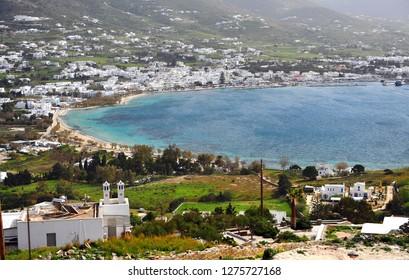 Panoramic view of Parikia old town, Paros, Greece