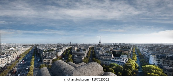Panoramic view of Paris from the Arc De Triumph