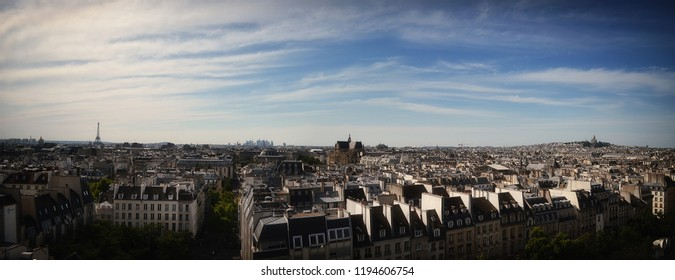 Panoramic View of Paris from Pompidou with Eiffel Tower and Sacre Couer