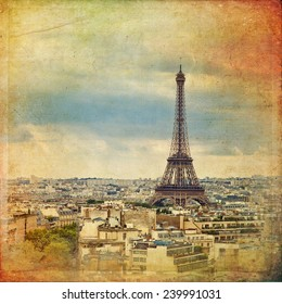 Panoramic view of Paris in vintage style