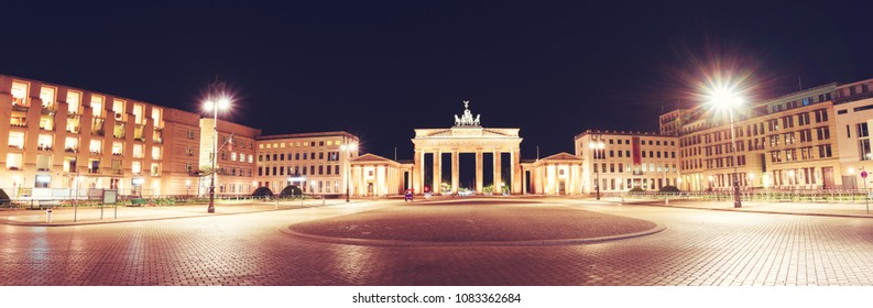 Panoramic view of Pariser Platz with famous Brandenburger Tor (Brandenburg Gate), one of the best-known landmarks and national symbols of Germany