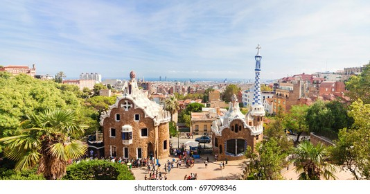 Panoramic view of the Park Guell by architect Antoni Gaudi in Barcelona, Spain.