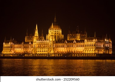 Panoramic view of the Parliament in Budapest at night