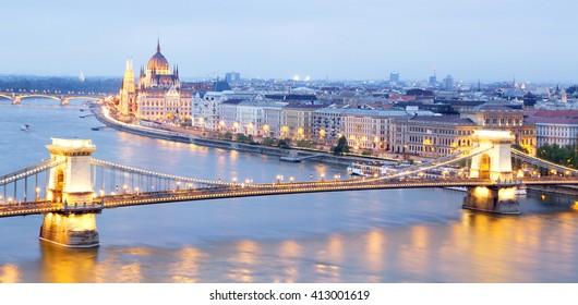 Panoramic view of the parliament building and chain bridge in Budapest, Hungary