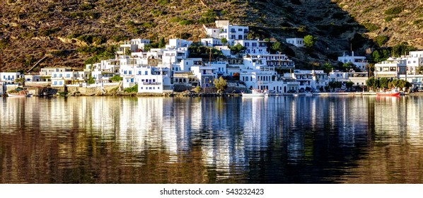 Panoramic view from a part of Katapola in Amorgos island, Greece
